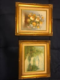 two brown wooden framed painting of flowers Centreville, 20120