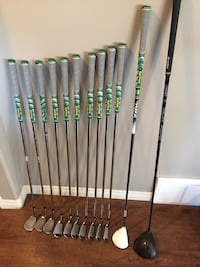 Full set of golf clubs. Taylormade M2 Driver, Rocketballs 3W, Taylormade Rocket blade irons, titleist Vokey wedges, odyssey putter