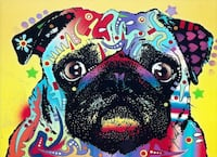 Abstract Colorful Pug Dog 11.5x15.5 Inch Stretche Brooklyn