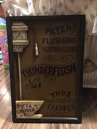 Thunderflush water closet wall decor with frame