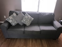 Gray fabric 3-seat sofa, loveseat(with pillows )(NO PETS)and 3 glass coffee table(one big) Lorton, 22079