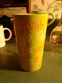 green and red wish upon a star painted ceramic mug