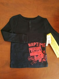 black and red crew neck shirt