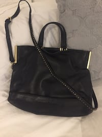 Halston Heritage black leather crossbody purse with gold details Toronto, M3H 4C8