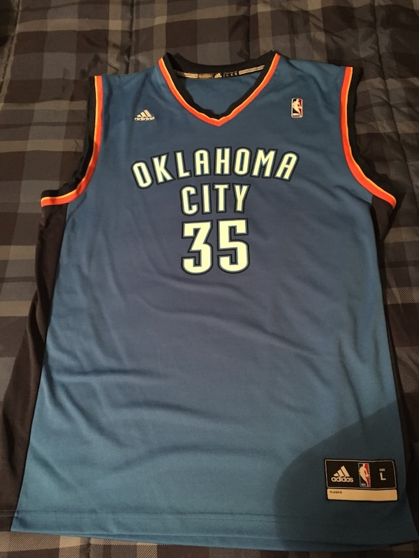 timeless design 74ac2 6f3b3 blue and black Adidas Oklahoma City 35 Kevin Durant jersey shirt