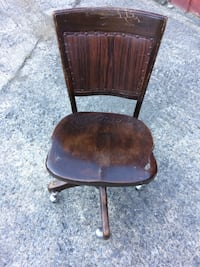 brown wooden frame black leather padded chair Albany
