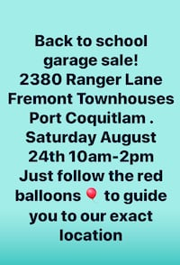 Back to school garage sale!!!  Port Coquitlam, V3B 0M4