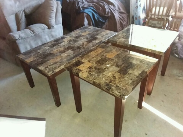 Used Faux Granite Coffee Table And Two End Tables For Sale In