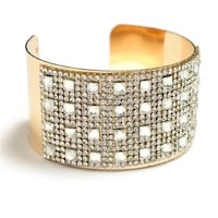 gold-colored with white rhinestone encrusted cuff bracelet Dundalk, 21222