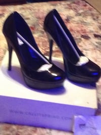 black high heel platform stilettos size 8 Merrillville