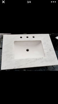 Marble Vanity Top in White with White Basin, new! 30x22 Springfield, 22015