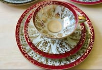 Beautiful Red & gold Bavarian 3-piece dessert set  Edmonton, T5N 1L9