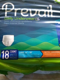 Prevail Daily Underwear for Adults 20 packs $9.00 each Philadelphia