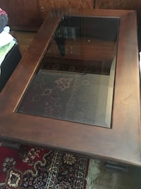 Wood coffee table with beveled glass insert Toronto, M9C 1G9