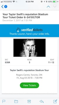 Taylor Swift Tickets  Richmond Hill, L4C 0G9