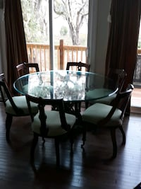 Glass top Dining Room table with 6 chairs Hollywood, 29449