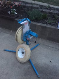 blue and gray push mower