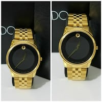 round gold analog watch with gold link bracelet collage
