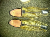 pair of yellow and gray dress shoes