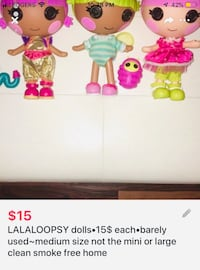 LALALOOPSY dolls•15$ each•barely used~medium size not mini or large  London, N5W 5E3
