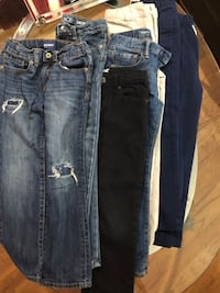 4 Kids Jeans long pants and 3 School pants and 1 burgundy Size 6).
