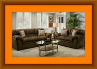 Chocolate fabric sofa and loveseat free delivery Pikesville, 21208