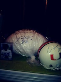 two white and blue football helmets Euclid, 44132