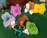 4 Hanging shapable flowers, toy horse, stuff cat,  Pinson