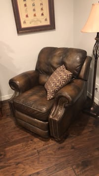 brown leather sofa chair with ottoman Dallas, 75214