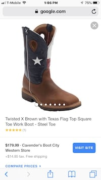 unpaired brown and black leather cowboy boot screenshot Coppell, 75019
