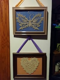 Pair of framed antique lace