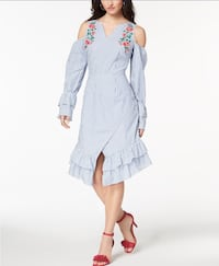 Juniors' Striped Embroidered Wrap Dress CA$40.00  Size: M,L 724 km