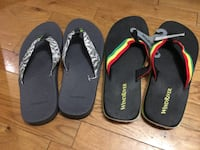 Windriver Black and grey or Jamaican themed flip flops. 539 km