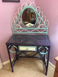 Dark purple, light teal blue and white wicker desk set! Two beautiful pieces, hand painted! Alexandria, 22310