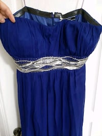 Strapless royal blue gown with silver detailing - 14