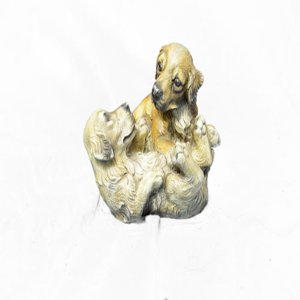 Two Puppy Labrador Playing Bronze Sculpture (4X5 Inches) 06455340-5244-4deb-8b27-e2ccb6babbfa