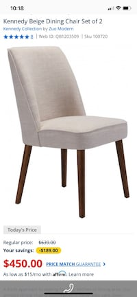 Zuo Modern Kennedy Dining Chairs Set of 2