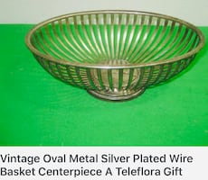 Vintaged engraved silver plated oval bowl