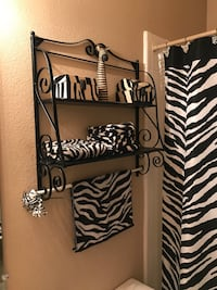 Fully Furnished Zebra Print Bathroom Decor & Accessories, barely used , all in my Guest Upstairs Bathroom  Cibolo, 78108