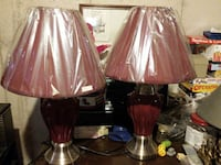 two brown base table lamps with same colour  lamp shades with plastic covering the shades London, N5V 4V6