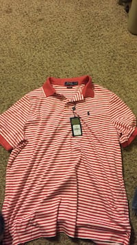 Red and white stripe Ralph Lauren polo shirt