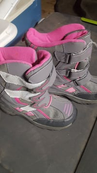 pair of pink-and-gray boots