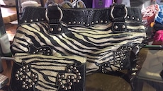 black and white zebra leather shoulder bag with pouch