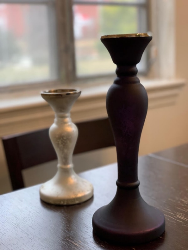 Candleholders -- Purple and Silver
