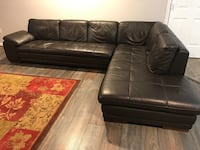 black leather tufted sectional sofa