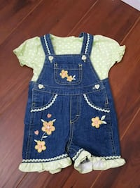 Girl's Overalls Two Piece Set. Available Size: 3/6M