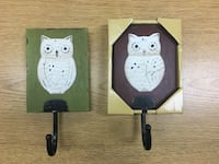 two brown,green, and white owl print wooden wall hooks Kissimmee, 34744