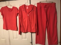 Danskin Now 3 pc Coral Stretch Outfit, Women's Sz Large (12-14) Top & Pants, Jacket Sz XL (16-18) Baltimore, 21236