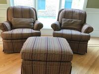 TWO Jessica Charles Swivel Chairs with Ottoman Northbrook, 60062