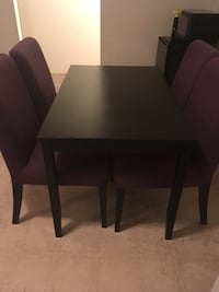Rectangular black wooden table with four chairs dining set Richmond, V7A 4E6